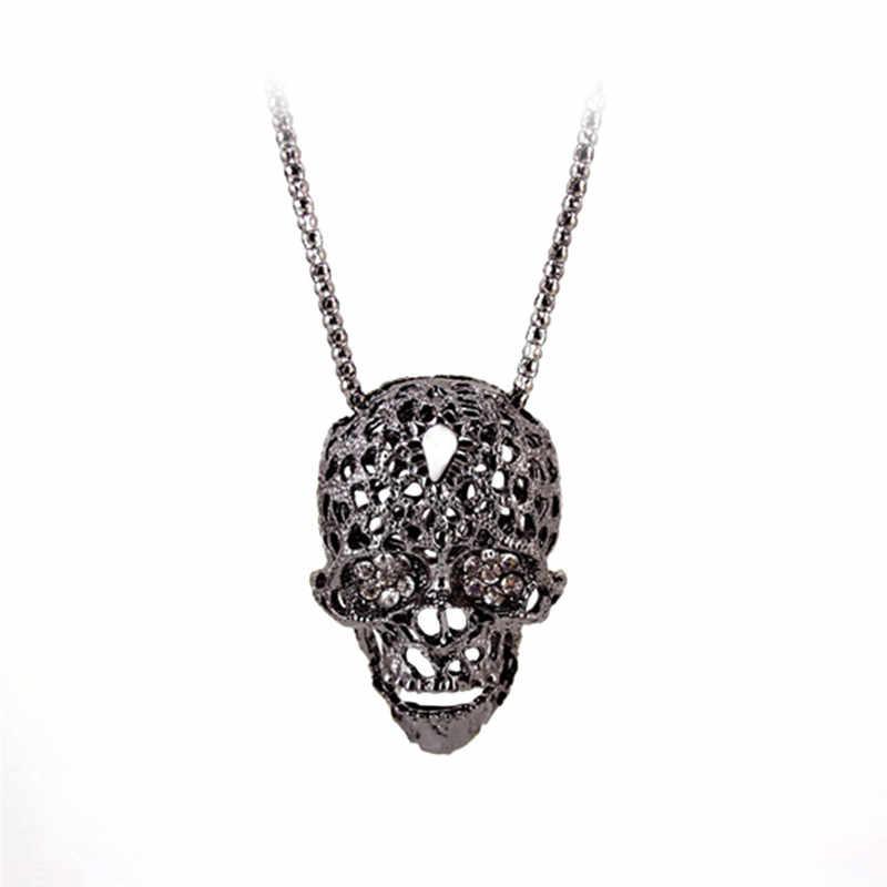 2018 الأزياء حجر الراين كريستال الجمجمة قلادة قلادة طويلة سترة سلسلة قلادة للنساء فاسق القوطية المجوهرات هدية S3