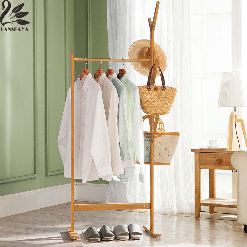 lanskaya modern bamboo floor clothes tree bag hat rack coat hanger furniture bedroom hook hanging hooks - Clothes Tree