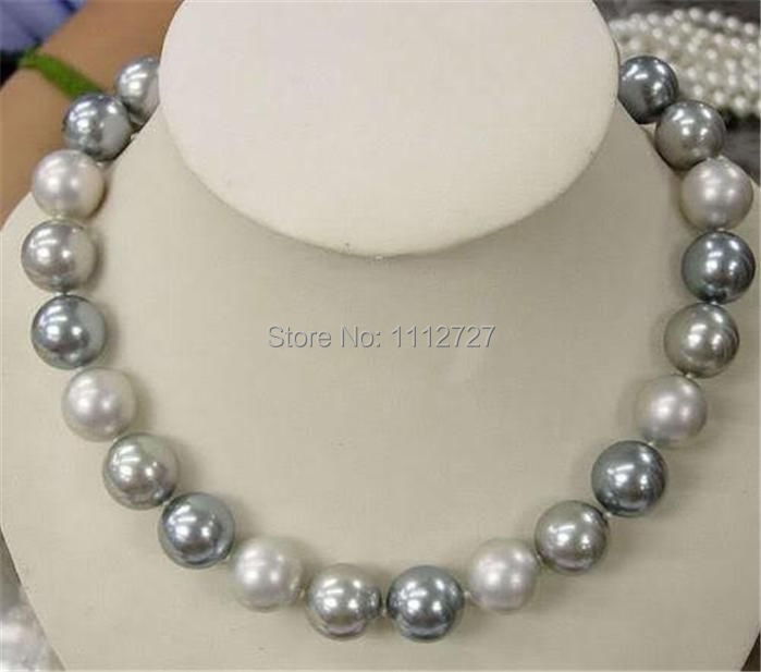 10mm Elegant white Silver Gray Shell Pearl Necklace Round beads Fashion Jewelry Making n ...