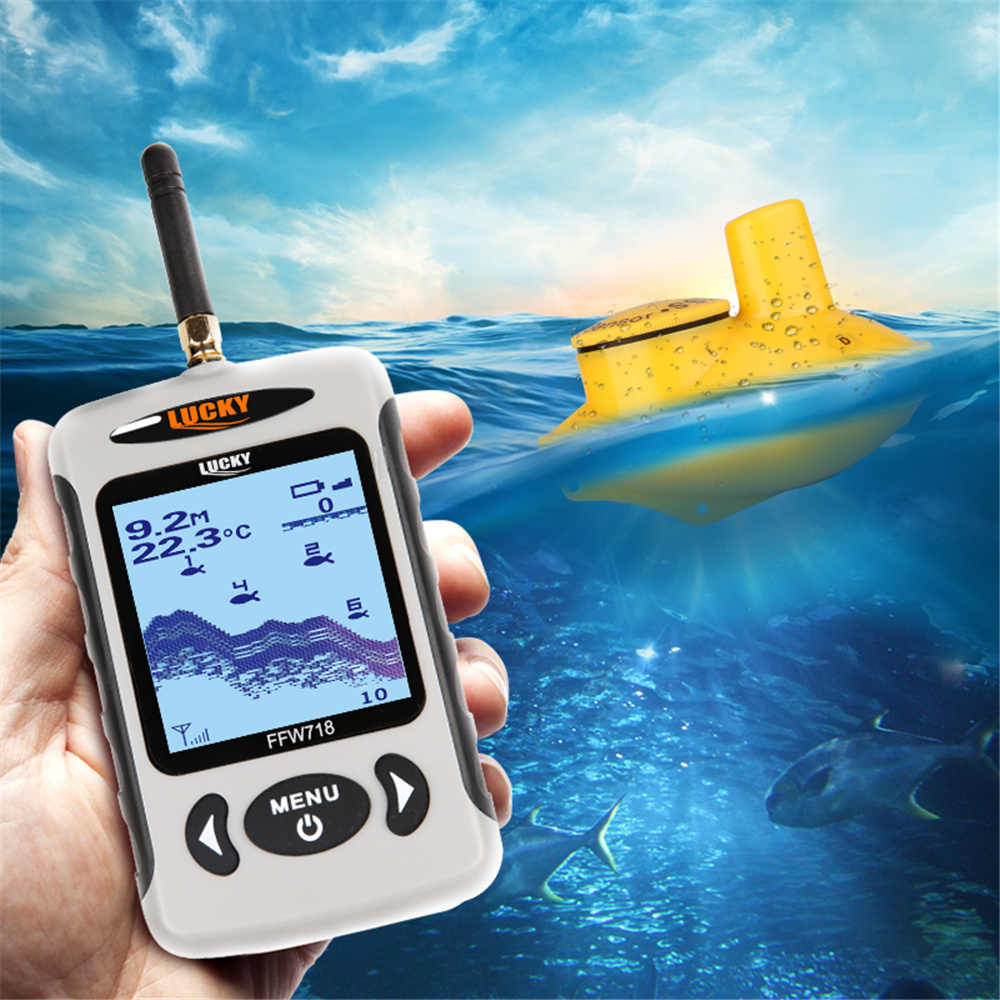 Lucky Fish Finder FFW718 Wireless Sonar Fish Finder 45M/135FT Deeper Echo Sounder Wireless For Fishing underwater hunting