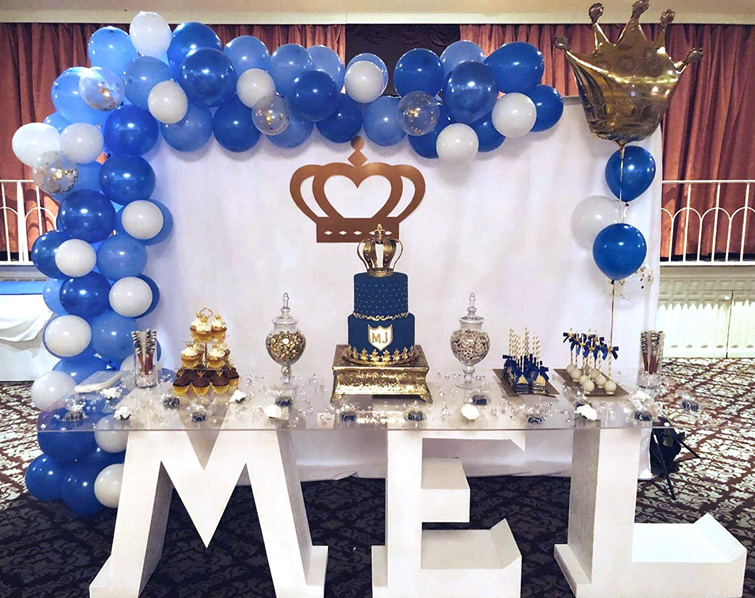 METABLE 300 pcs Royal Blue Light Gold Confetti Balloons White and Gold, Baby Shower Decorations