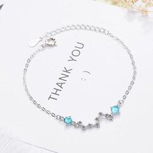 KOFSAC Charm 925 Sterling Silver Bracelets For Women Jewelry Colored Glass Crystal  Blue Round Star Bangle Girl Engagement Gifts
