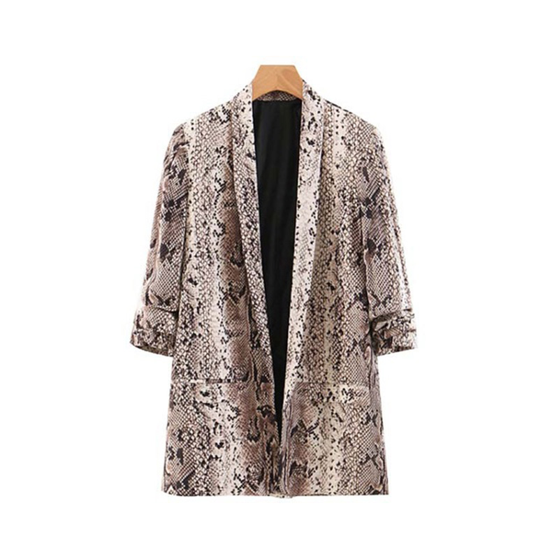 2019 Animal Snake Print Women Blazers And Jackets Korean Blazer Feminino Mujer Pockets Outerwear Female Casual Tops
