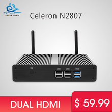 Windows tv box Dual HDMI Mini PC Celeron N2807 Windows 7/8/10 Fanless Mini Computer HDMI Wifi USB 500GB HDD PC Nettop