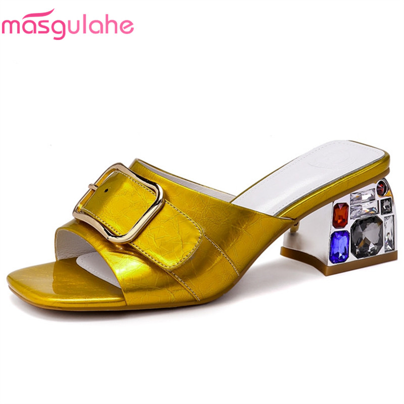 De Masgulahe Hebilla Cuero Fiesta Zapatillas amarillo Llegada Mujer Graduación Genuino Mujeres Verano Baile Las Sandalias Nueva Plata Zapatos 2019 vYqrwBYF