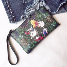 Korean Women Cute Wallet Leather Wristlet Bag Printing Floral Clutch Purse Cell Phone Wallet Zipper Pouch Key Change Coin Purse(China)