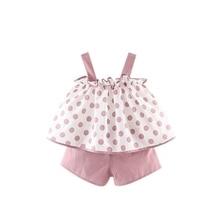2019 Toddler Baby Kids Girl Clothes Summer Outfits Set Polka Dot Strap Tops Shorts цена 2017