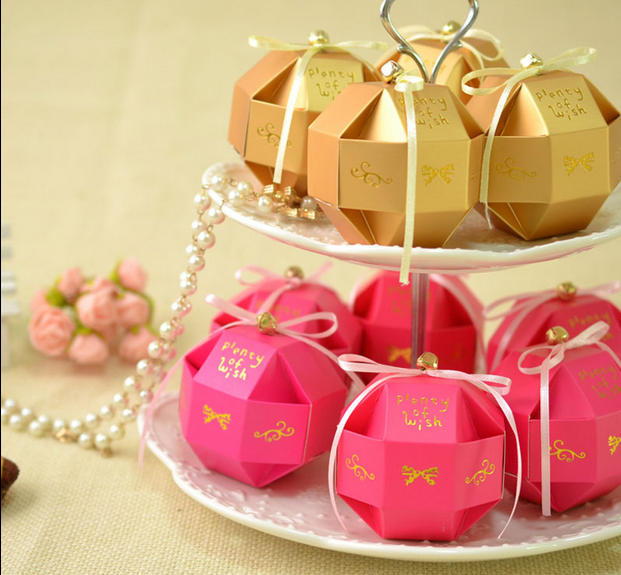 100pcs New Wedding Favors DIY Candy Boxes Bomboniera Party Gifts Chocolate With Ribbons Small