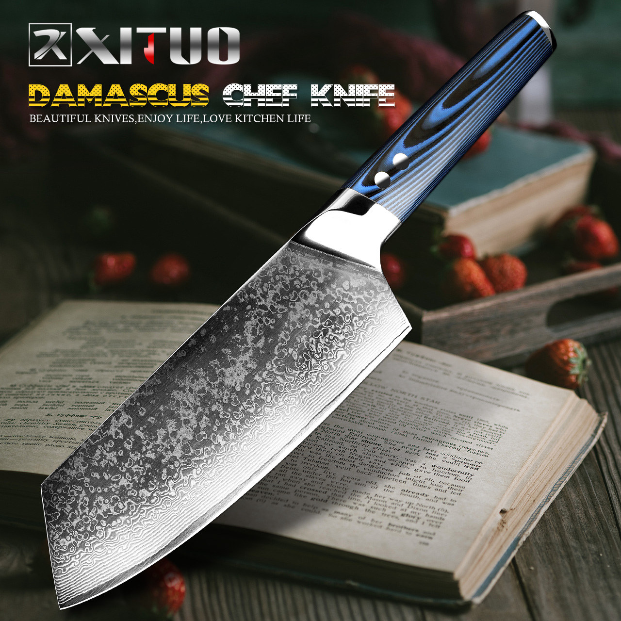 XITUO Chef cuchillo japonés Damasco cuchillo de cocina Damasco VG10 67 capa cuchillo de acero inoxidable Ultra agudo azul G10 manejar-in Cuchillos de cocina from Hogar y Mascotas    1