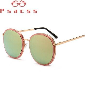 Psacss nuevas gafas de sol de moda mujeres hombres gafas de sol redondas espejadas para conducir compras marca de diseñador marco de Metal de gafas UV400