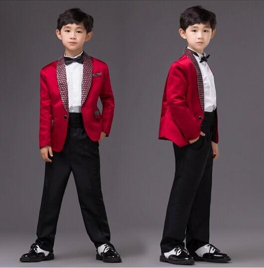 2015 Fall Boys Wedding Dresses For Kids Child Tuxedos 5pcs Set Suits With Coat