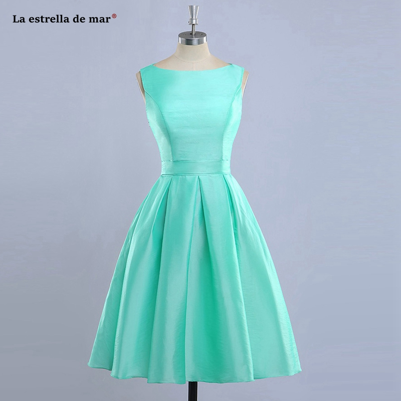 vestido madrinha new satin A Line mint green orange blue purple   bridesmaid     dresses   Tea Length sukienka wesele real picture