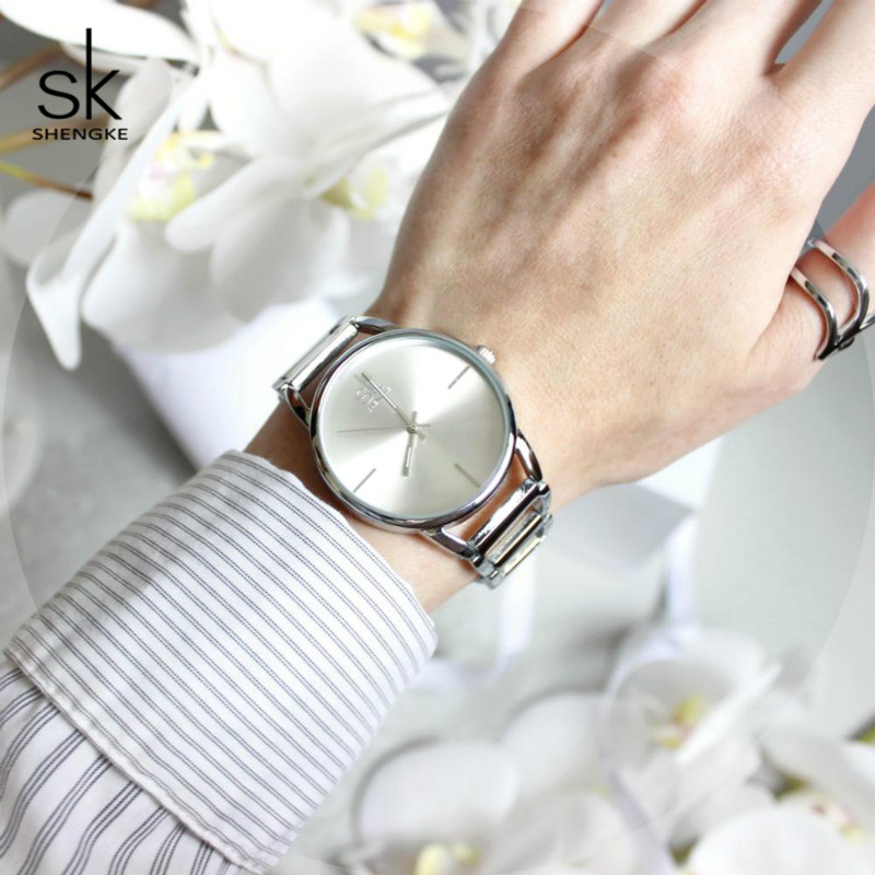 Shengke Fashion Dames Horloges Merk Luxe Roestvrij Staal Quartz Horloge Relogio Feminino 2019 SK Dames Armband Horloges # K0028