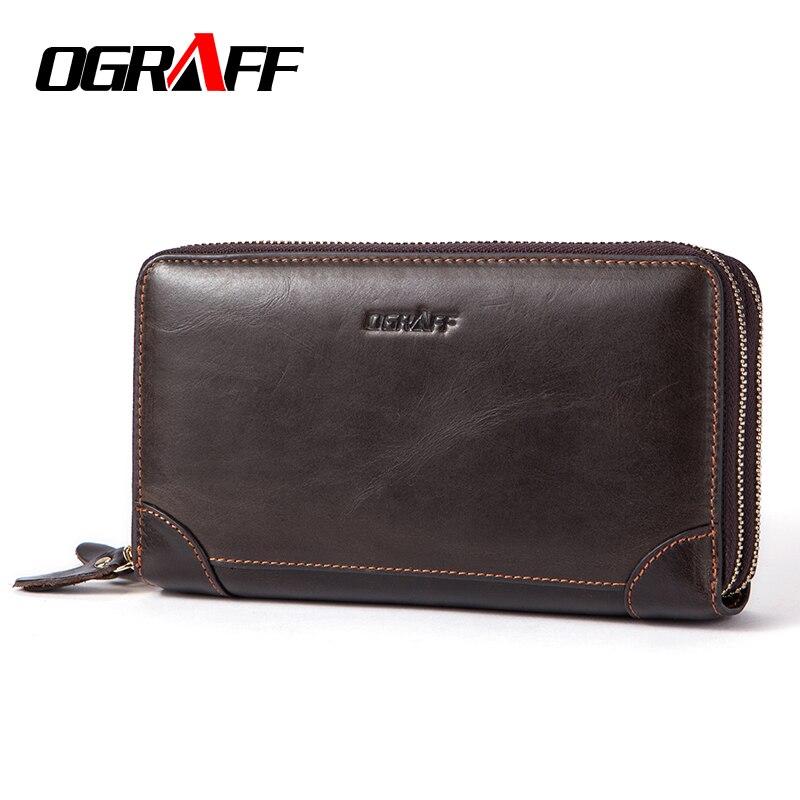 OGRAFF Double Zipper Men Wallet Clutch Bags Men s Purses Genuine Leather Men Wallets Leather Man