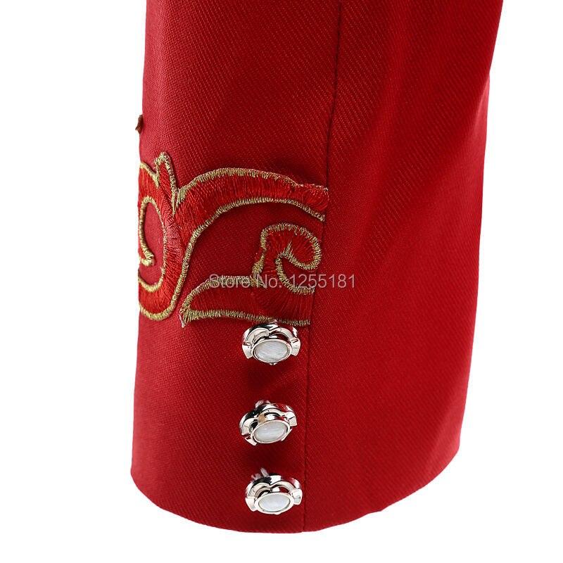 Модные мужские красные костюмы с вышивкой, деловые костюмы, большие размеры, S 4XL, одежда для ночного клуба, приталенный Блейзер с цветочным узором, брюки - 5