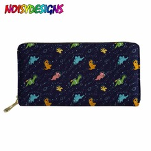 NOISYDESIGNS Dinosaurs In Space Wallet for Credit Cards Personality Portable PU Leather Purse Organizer Mochilas Infantil