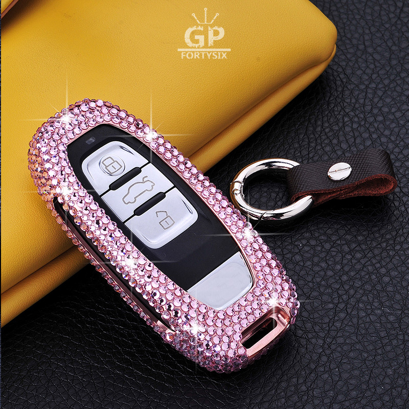 Diamant En Alliage D'aluminium Couvercle De Clé De Voiture Cas Titulaire + Porte-clés Pour Audi A4 S4 B7 B8 A6 A5 A7 A8 Q5 S5 S6 Q7 Clé Intelligente de voiture style