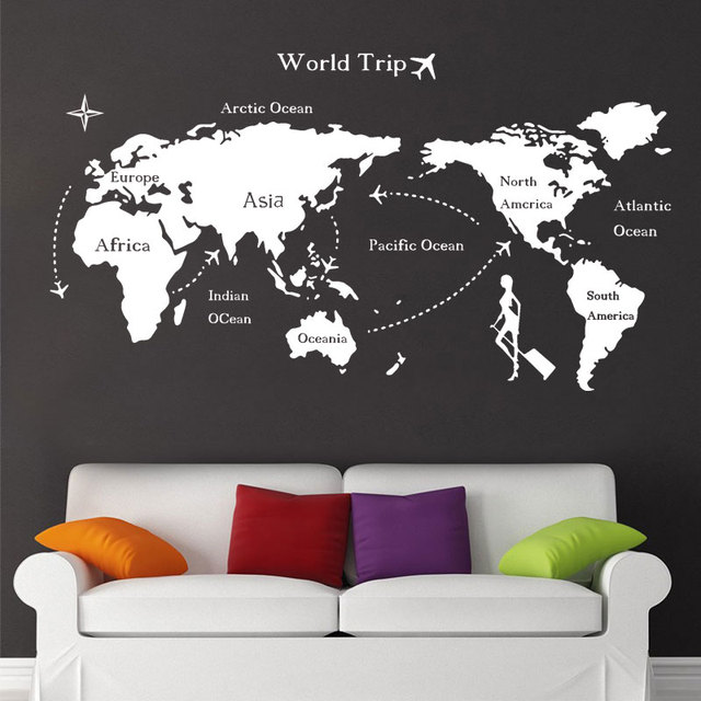 nautical home decor world map wall sticker for living room vinyl art