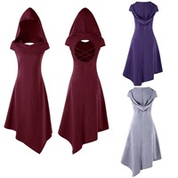 BOOCRE 2018 Middle Ages Gothic Style Cosplay Witch Costumes Hooded Irregular Sleeveless Women Dress 3 Colors
