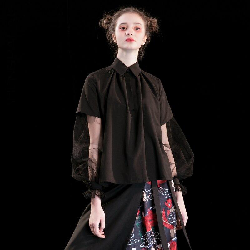 SHENGPALAE col rabattu noir haute qualité Blouse Split Joint dentelle nouveau Design 2019 nouveau été printemps femmes chemise FN931