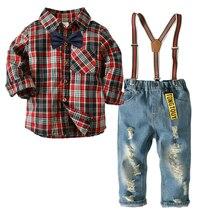 hot deal buy spring autumn kids 2 pcs suits boys clothes sets plaid shirt +jeans overalls boys sets plaid shirt broken hole pants trousers