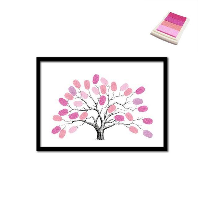 Hot Fingerprint Wedding Tree Painting DIY Fingerprint Tree Wedding ...