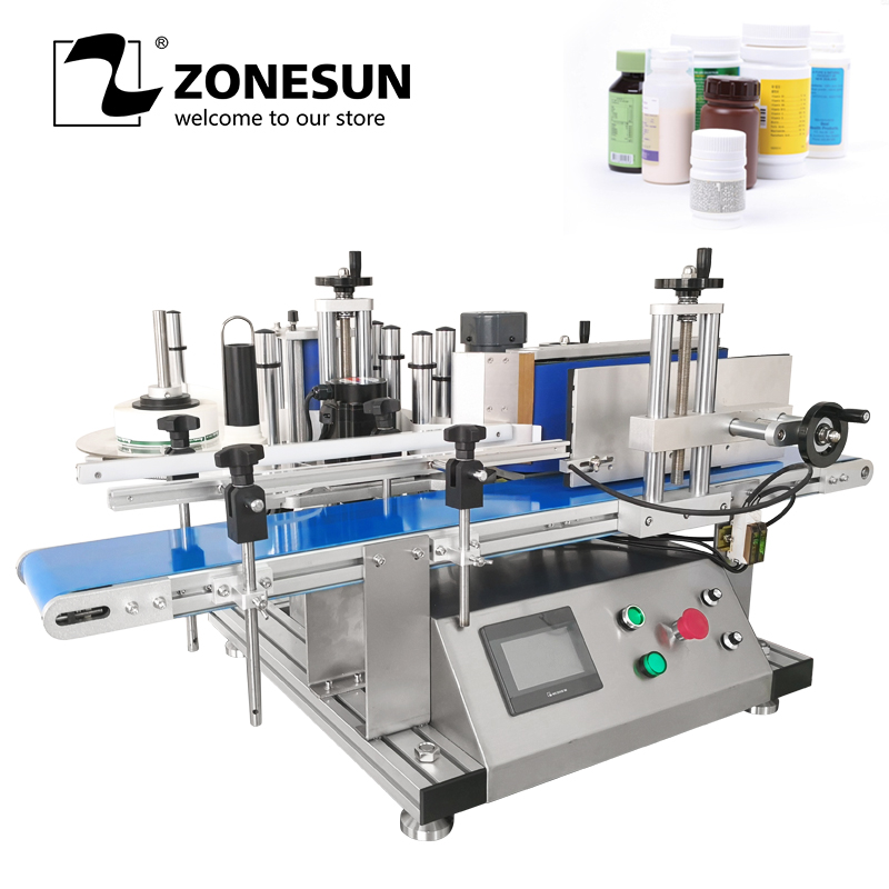 ZONESUN полный автоматический на круглых бутылках этикеточная машина Deskatop Тип Labeller для еда Фрукты может пластиковый для винных бутылок маркир