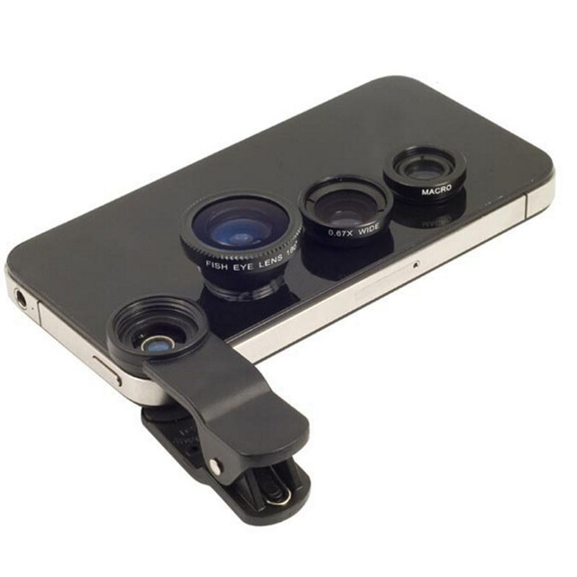 3 in 1 Fish Eye Lens for Mobile Phone Camera Wide + Macro + Fisheye Lenses for Polaroid Snap 5.0