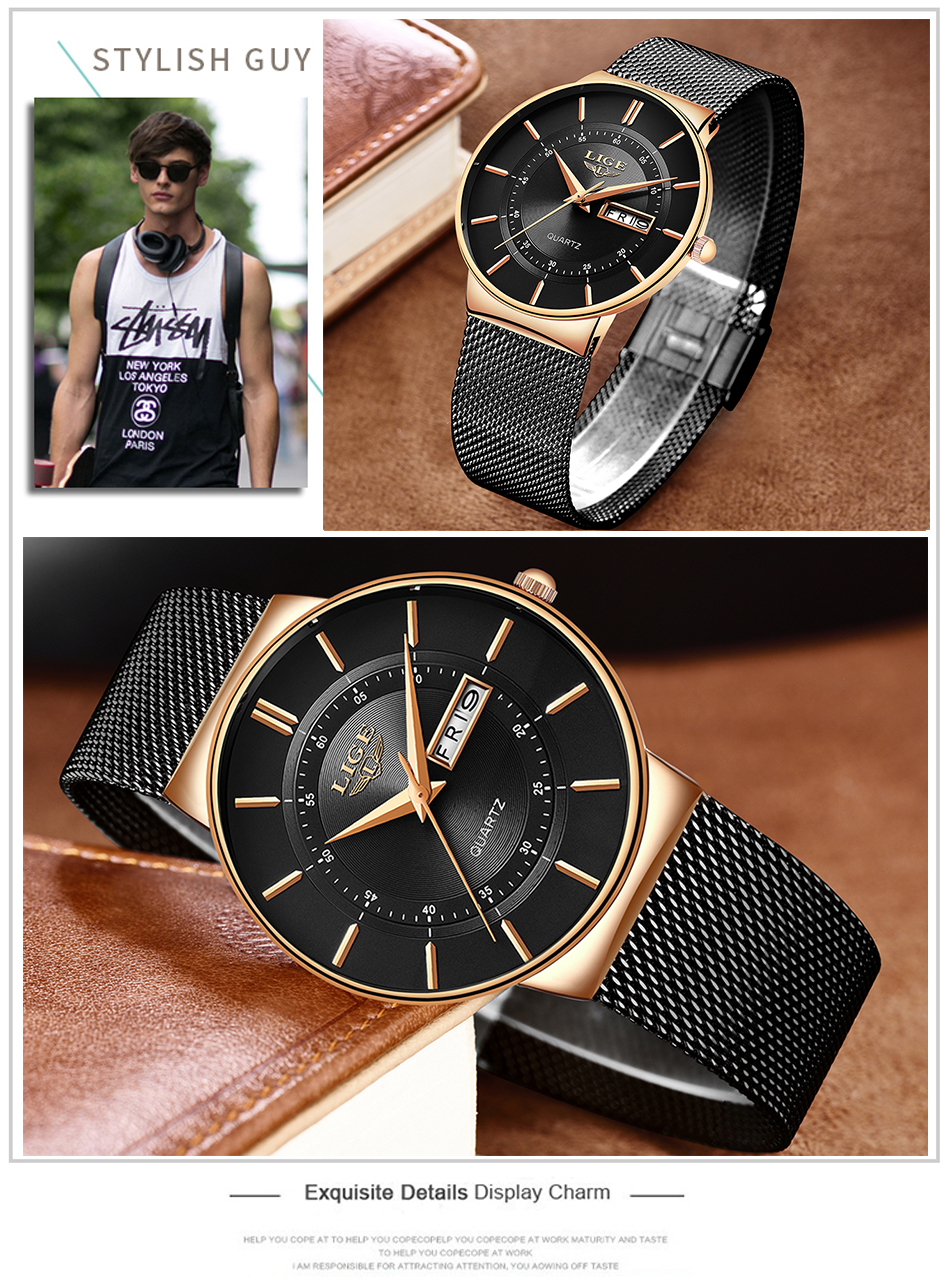 HTB1LghSdWSs3KVjSZPiq6AsiVXaO Relogio Masculino 2019 LIGE New Mens Watches Top Brand Luxury Ultra Thin Quartz Watch Men Steel Mesh Strap Waterproof Gold Watch