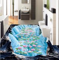 3D полы водопад Ванная комната Кухня 3D Пол Ванная комната ПВХ обои 3d пол живопись обои