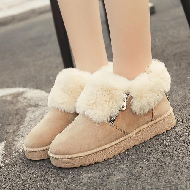 2018 New Fox Fur Women Plush Winter Ankle Snow Boots for Women Winter Shoes  Keep Warm Metal Zipper Zapatos  Boots