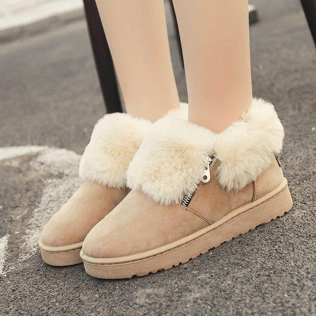 2018 neue Fuchs Pelz Frauen Plüsch Winter Knöchel Schnee Stiefel für Frauen Winter Schuhe Warm Halten Metall Zipper Zapatos Stiefel