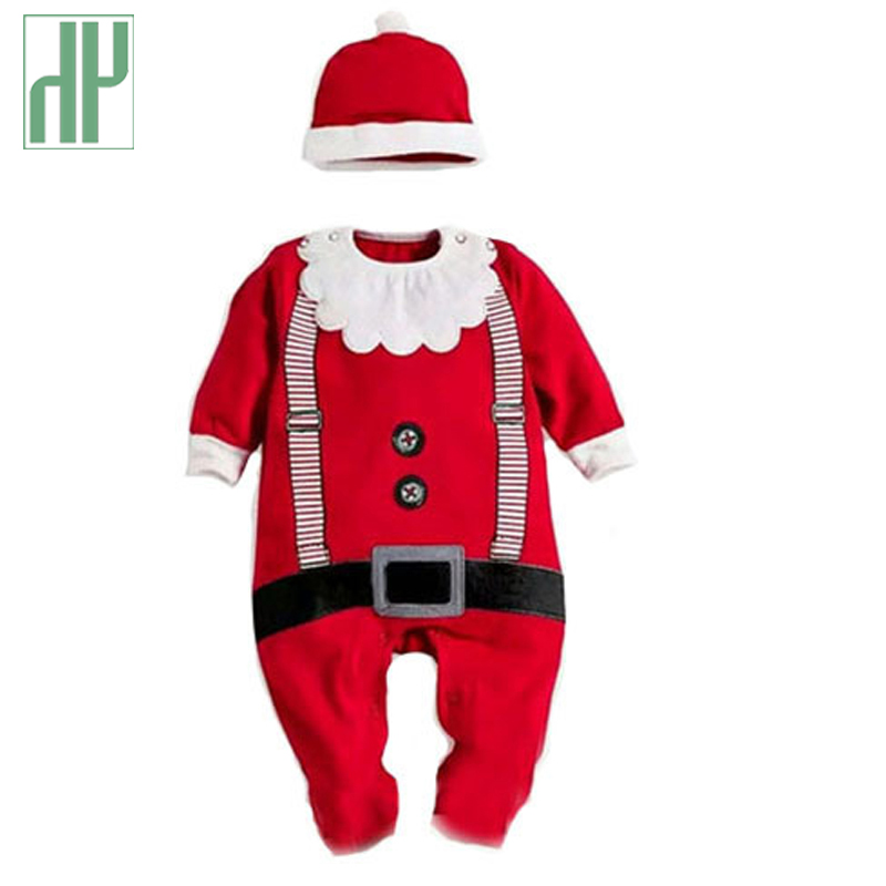 2pcs Romper+hat Christmas gift hot baby rompers Santa Claus clothes Autumn children romper newborn baby clothes jumpsuit baby