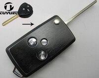 Tuyuet 3 버튼 수정 된 플립 접이식 원격 키 케이스 도요타 corolla에 대 한 새로운 vois 및 reiz 자동차 키 블랭크 케이스