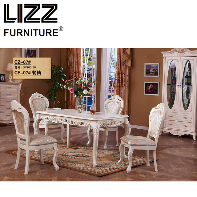 Marble Dining Table Room Furniture Set Royal Antique Style Muebels Square Chesterfield Fabric