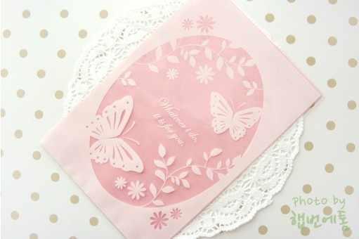 13x19 cm Luz Oval Rosa saco Da Embalagem do Presente Da Borboleta flor Bonito Bolsa Biscuit Saco Favor de Partido 300 pçs/lote