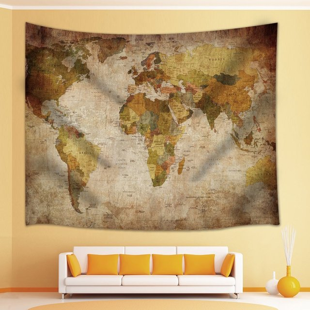 wall world map decor old globe design students gifts tapestry wall hanging for bedroom living room
