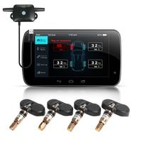 Auto USB TPMS BANDENSPANNINGSCONTROLESYSTEEM Navigatie Android Alarm 4 Draadloze Interne Auto Tyre Sensoren voice alert