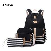 Tourya 3pcs/set Fashion Canvas Women Backpack Bookbag Laptop College Bagpack Travel Rucksack School Bag for Teenager Girls