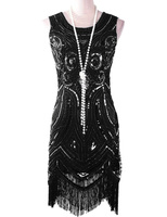 PrettyGuide Women 1920s Great Gatsby Inspired Vintage Beads Sequin Art Deco Paisley Flapper Party Dress