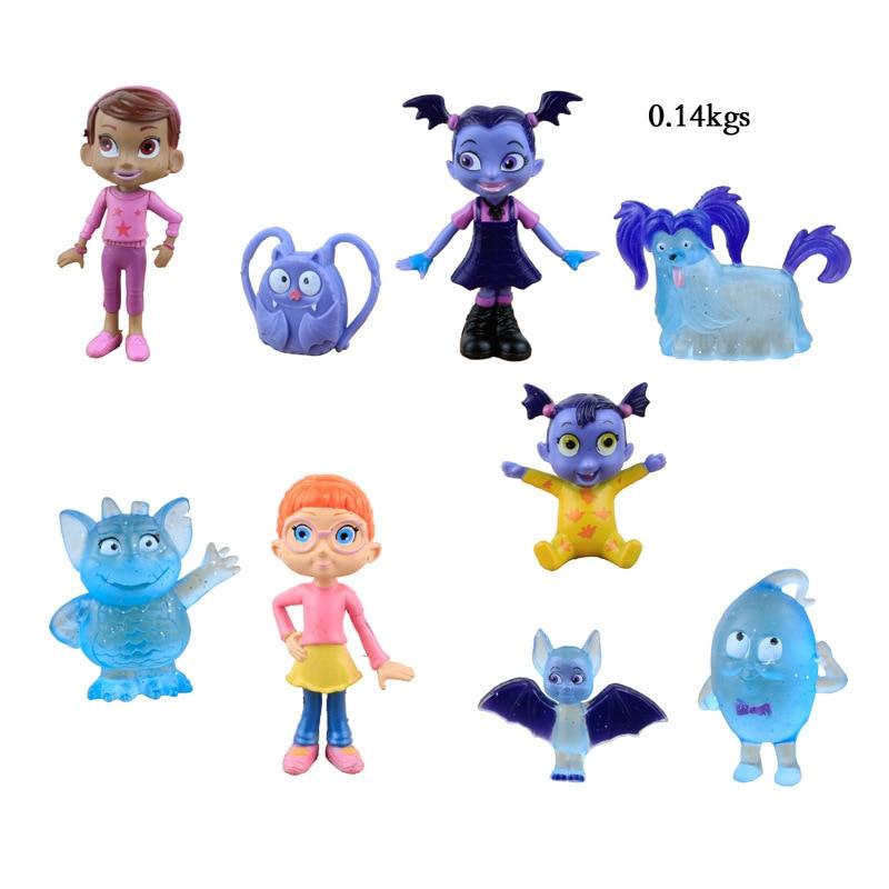 9pcs/lot Junior Vampirina The Vamp Batwoman Girl Action Figures Toy Doll For Kids Baby Gifts PVC Plastic Cake Gift Figura Toys