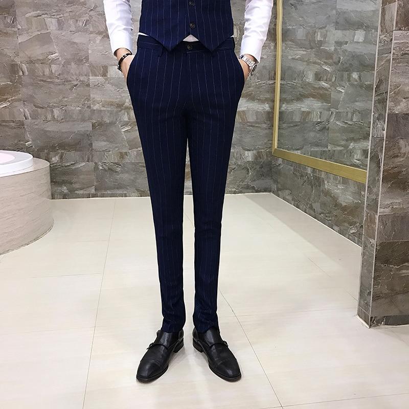 Autumn Striped Men Dress Pants Red Blue Gray Black  Men Pant Asia Size S M L XL XXL XXXL XXXXL Mens Trousers