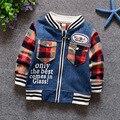 Frete grátis novo 2016 Primavera e outono meninos e meninas do bebê jaqueta jaqueta jeans da marca de roupas infantis 100% algodão casaco