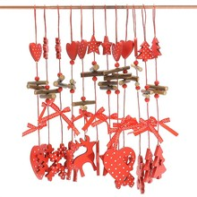 12pcs/set Christmas Tree Wooden Pendant Oranments Red color String Design Party Holiday