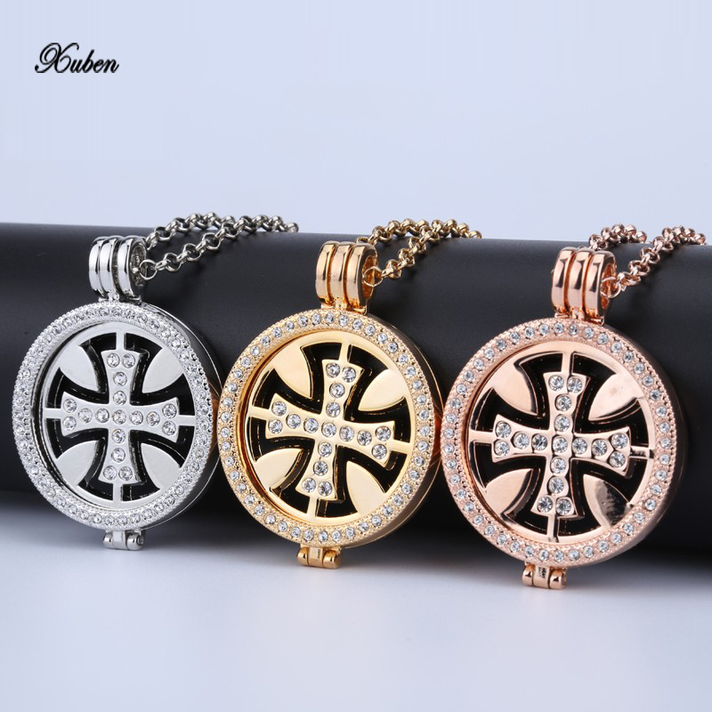 new 35mm coin necklace pendant rose gold silver champagne crystal alloy long chain necklace & pendants for women holiday gift