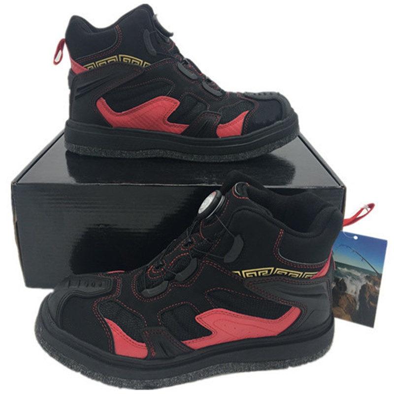 Chaussures de pêche imperméables à l'eau de saut en hauteur cuissardes de pêche bouton rapide lacet résistant à la glisse
