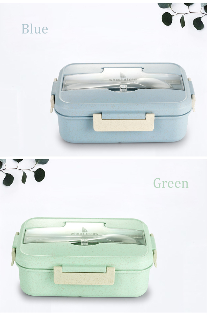 TUUTH Microwave Lunch Box Wheat Straw Dinnerware Food Storage Container Children Kids School Office Portable Bento Box B11