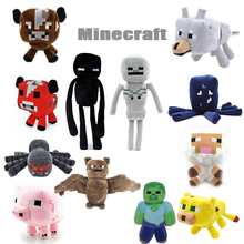 16-26cm Minecraft Enderman Coolie Creeper JJ Wolf Bat Sheep Squid Ghast My World Zombie Ghost Plush Toys Stuffed Dolls  for Kids