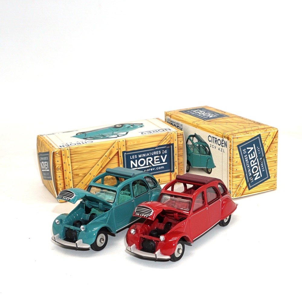 1/43 NOREV METAL DIECAST MODEL  2 CV Green And Red AZL CL1522 Rouge Corsaire