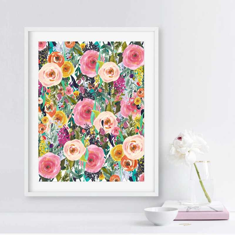 Flower Print Watercolor Floral Wall Art Canvas Painting Picture Home Bedroom Study Office Wall Art Decoration
